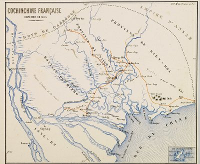 [picture] 1858 expedition: map of the rivers of French Cochinchina
