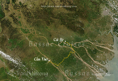 [image] Map of your cruise on the Mekong: Cần Thơ - Cái Bè