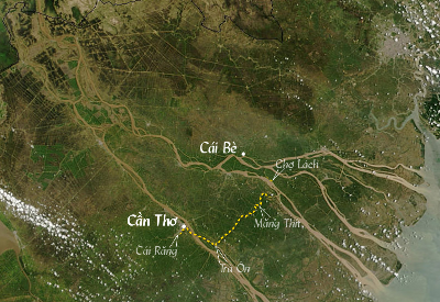 [image] Map of your cruise on the Mekong: Cái Bè - Cần Thơ - Cần Thơ