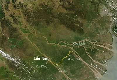 [image] Map of your cruise on the Mekong: cantho-cantho-cantho